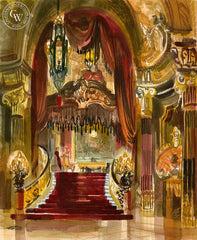 Fox Theatre Lobby, 1959, California art by Ken Potter. HD giclee art prints for sale at CaliforniaWatercolor.com - original California paintings, & premium giclee prints for sale