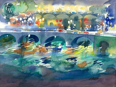 Fraumunsterbrucke at Night, 2010, California art by Ken Potter. HD giclee art prints for sale at CaliforniaWatercolor.com - original California paintings, & premium giclee prints for sale