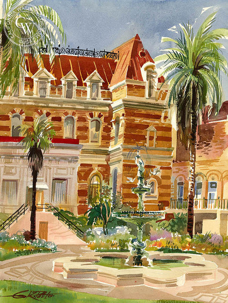 French Hospital Court, 1962, California art by Ken Potter. HD giclee art prints for sale at CaliforniaWatercolor.com - original California paintings, & premium giclee prints for sale