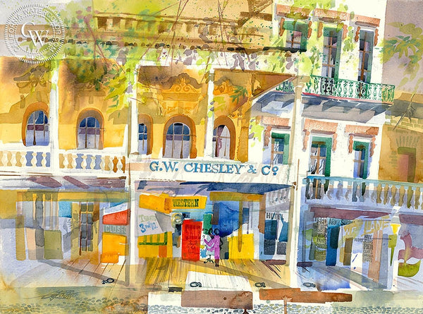 G.W. Chesley's & Co., Front Street, 1997, California art by Ken Potter. HD giclee art prints for sale at CaliforniaWatercolor.com - original California paintings, & premium giclee prints for sale