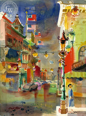 Grant Avenue, 1956, California art by Ken Potter. HD giclee art prints for sale at CaliforniaWatercolor.com - original California paintings, & premium giclee prints for sale