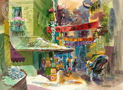 Grant & Washington, San Francisco, California art by Ken Potter. HD giclee art prints for sale at CaliforniaWatercolor.com - original California paintings, & premium giclee prints for sale
