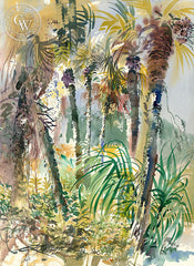 Ken Potter - Indian River Palms, 1987, California watercolor art, original California watercolor art for sale, fine art print for sale, giclee watercolor print - CaliforniaWatercolor.com