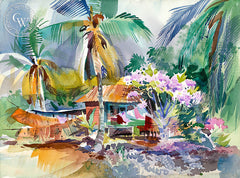 Ke'ei Fishing Village, 1997, California art by Ken Potter. HD giclee art prints for sale at CaliforniaWatercolor.com - original California paintings, & premium giclee prints for sale