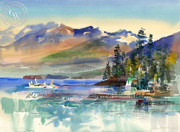 Lake Tahoe from Tahoe City, 1987, California art by Ken Potter. HD giclee art prints for sale at CaliforniaWatercolor.com - original California paintings, & premium giclee prints for sale