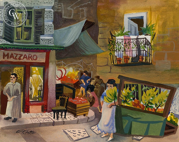 Market in Naples, 1952, California art by Ken Potter. HD giclee art prints for sale at CaliforniaWatercolor.com - original California paintings, & premium giclee prints for sale