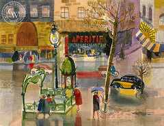 Metro Pigalle, Paris, 1953, California art by Ken Potter. HD giclee art prints for sale at CaliforniaWatercolor.com - original California paintings, & premium giclee prints for sale