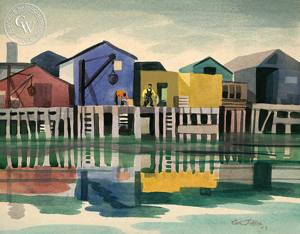 Monterey Pier, 1949, California watercolor art by Ken Potter. HD giclee art prints for sale at CaliforniaWatercolor.com - original California paintings, & premium giclee prints for sale