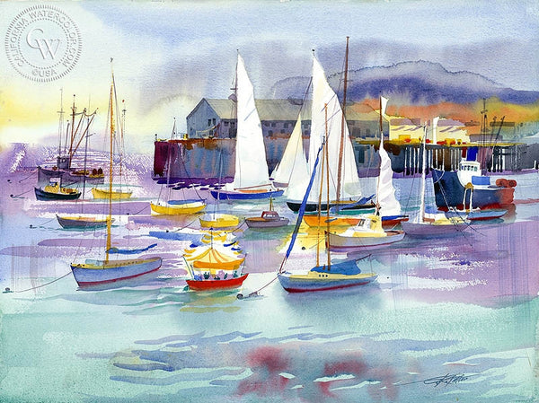 Monterey Pier, 1999, California art by Ken Potter. HD giclee art prints for sale at CaliforniaWatercolor.com - original California paintings, & premium giclee prints for sale