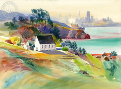 Morning Old St. Hilary's, 2000, California art by Ken Potter. HD giclee art prints for sale at CaliforniaWatercolor.com - original California paintings, & premium giclee prints for sale