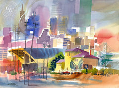 Old Customs House & Skyline, 2004, California art by Ken Potter. HD giclee art prints for sale at CaliforniaWatercolor.com - original California paintings, & premium giclee prints for sale