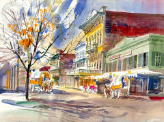Old Town Sacramento, California art by Ken Potter. HD giclee art prints for sale at CaliforniaWatercolor.com - original California paintings, & premium giclee prints for sale
