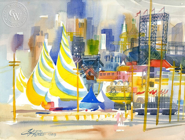 Pac Bell Cityscape, California art by Ken Potter. HD giclee art prints for sale at CaliforniaWatercolor.com - original California paintings, & premium giclee prints for sale