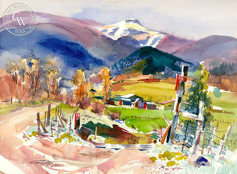 Penasco, NM, 1997, California watercolor art by Ken Potter. HD giclee art prints for sale at CaliforniaWatercolor.com - original California paintings, & premium giclee prints for sale