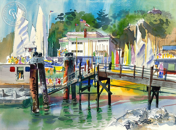 Regatta Corinthian, 1975, California art by Ken Potter. HD giclee art prints for sale at CaliforniaWatercolor.com - original California paintings, & premium giclee prints for sale