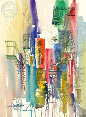Ross Alley, Chinatown, San Francisco, 1990, California art by Ken Potter. HD giclee art prints for sale at CaliforniaWatercolor.com - original California paintings, & premium giclee prints for sale