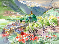Saillon and the Valley Rhone, Switzerland, 1993, California watercolor painting by Ken Potter, California art. fine art giclee prints for sale at CaliforniaWatercolor.com - original California paintings, & premium giclee prints for sale