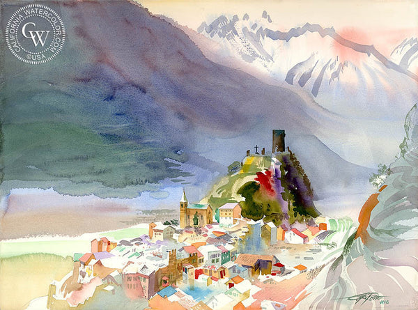 Saillon, Switzerland, 1994, California watercolor painting by Ken Potter, California art. fine art giclee prints for sale at CaliforniaWatercolor.com - original California paintings, & premium giclee prints for sale