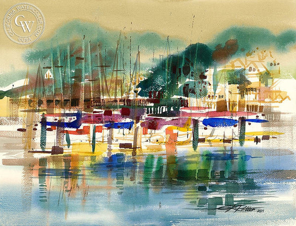 San Francisco Yacht Club, 1969, California art by Ken Potter. HD giclee art prints for sale at CaliforniaWatercolor.com - original California paintings, & premium giclee prints for sale