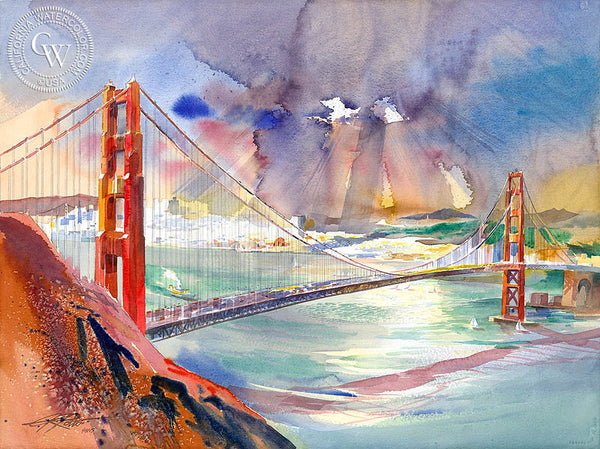 San Francisco and the Golden Gate, 2006, California art by Ken Potter. HD giclee art prints for sale at CaliforniaWatercolor.com - original California paintings, & premium giclee prints for sale