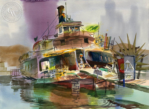 San Rafael Ferry, 1978, California art by Ken Potter. HD giclee art prints for sale at CaliforniaWatercolor.com - original California paintings, & premium giclee prints for sale