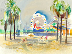 Santa Monica Pier, 2005, California art by Ken Potter. HD giclee art prints for sale at CaliforniaWatercolor.com - original California paintings, & premium giclee prints for sale