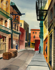 Spofford Alley, 1949, California art by Ken Potter. HD giclee art prints for sale at CaliforniaWatercolor.com - original California paintings, & premium giclee prints for sale