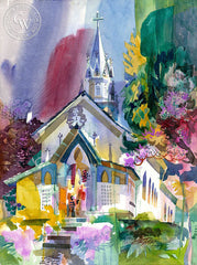 St. Benedict's Painted Church, 1997, California art by Ken Potter. HD giclee art prints for sale at CaliforniaWatercolor.com - original California paintings, & premium giclee prints for sale