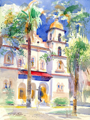 St. Francis Church Sacramento, California art by Ken Potter. HD giclee art prints for sale at CaliforniaWatercolor.com - original California paintings, & premium giclee prints for sale