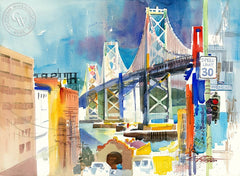 The Bridge from Rincon Hill, 1990, California art by Ken Potter. HD giclee art prints for sale at CaliforniaWatercolor.com - original California paintings, & premium giclee prints for sale