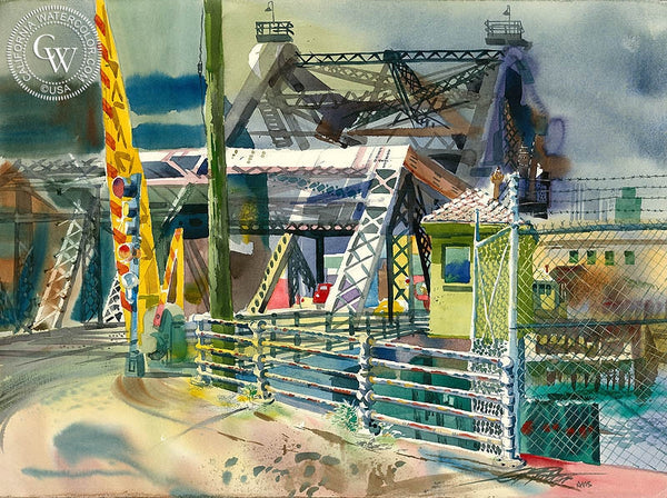 Third Street Bridge, 1979, California art by Ken Potter. HD giclee art prints for sale at CaliforniaWatercolor.com - original California paintings, & premium giclee prints for sale