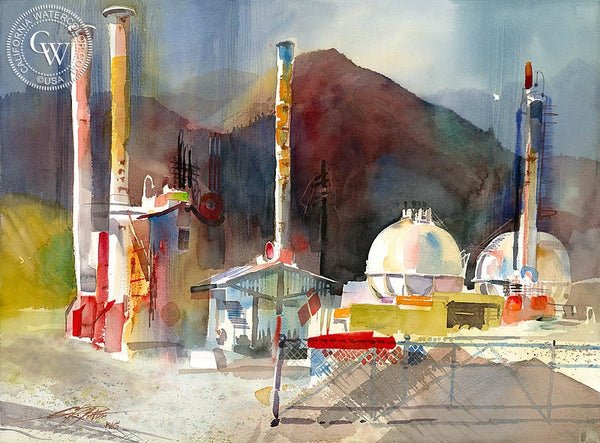 Ken Potter - USA Petrochem, 2006, California art, original California watercolor art for sale, fine art print for sale, giclee watercolor print - CaliforniaWatercolor.com
