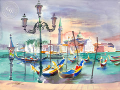 Venice from the Piazetta, California art by Ken Potter. HD giclee art prints for sale at CaliforniaWatercolor.com - original California paintings, & premium giclee prints for sale