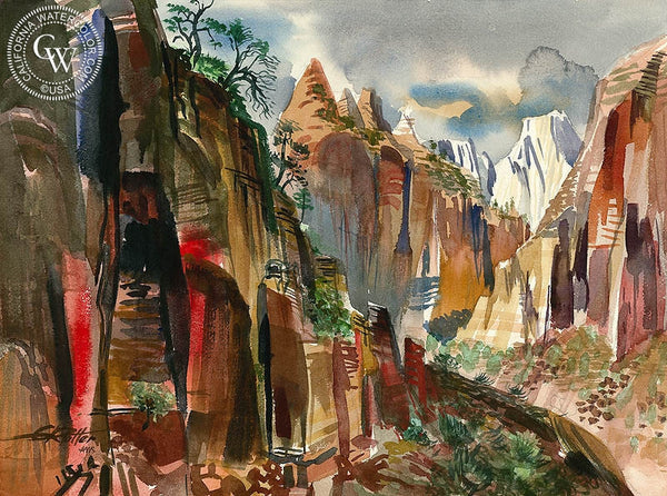 Zion Canyon, 1960, California art by Ken Potter. HD giclee art prints for sale at CaliforniaWatercolor.com - original California paintings, & premium giclee prints for sale