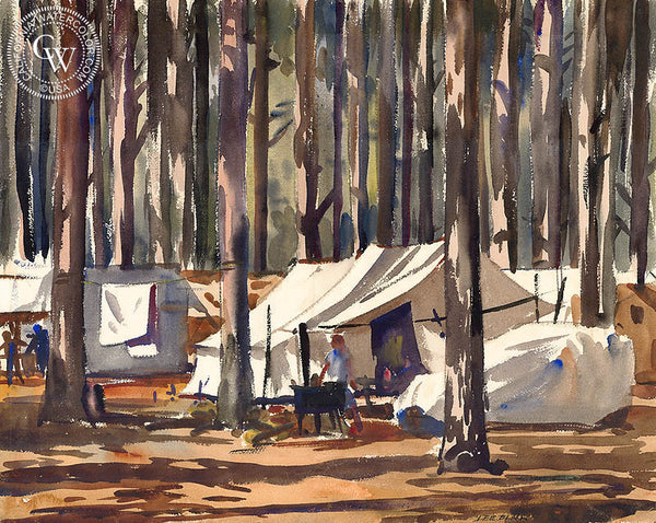 Forest Home, 1935, California watercolor art by Lee Blair. HD giclee art prints for sale at CaliforniaWatercolor.com - original California paintings, & premium giclee prints for sale