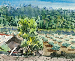 Crop Farm, California art by Lee Blair. HD giclee art prints for sale at CaliforniaWatercolor.com - original California paintings, & premium giclee prints for sale