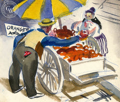 Fruit Cart, California art by Lee Blair. HD giclee art prints for sale at CaliforniaWatercolor.com - original California paintings, & premium giclee prints for sale