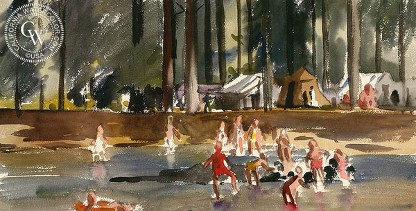 Lakeside Camp, California art by Lee Blair. HD giclee art prints for sale at CaliforniaWatercolor.com - original California paintings, & premium giclee prints for sale