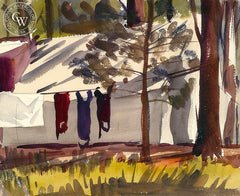 Laundry, California art by Lee Blair. HD giclee art prints for sale at CaliforniaWatercolor.com - original California paintings, & premium giclee prints for sale