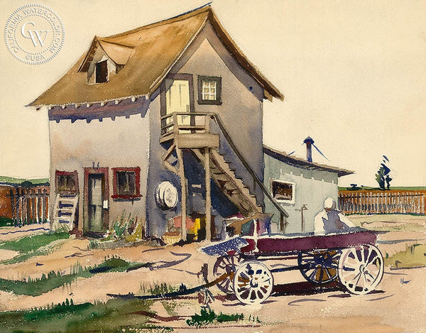 Loading the Wagon, California art by Lee Blair. HD giclee art prints for sale at CaliforniaWatercolor.com - original California paintings, & premium giclee prints for sale