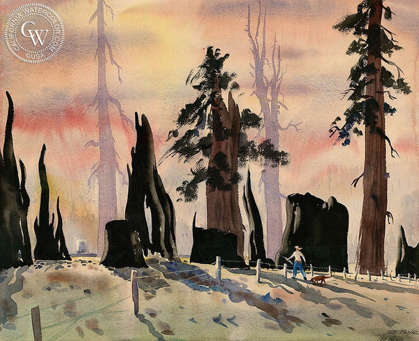 Redwood Slashings, c. 1940, California art by Lee Blair. HD giclee art prints for sale at CaliforniaWatercolor.com - original California paintings, & premium giclee prints for sale