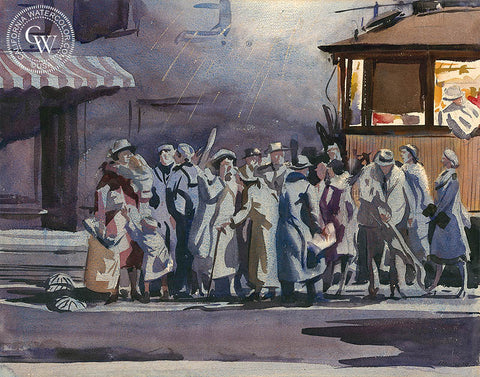 Trolley Stop, c. 1930s, Los Angeles, California watercolor art by Lee Blair. HD giclee art prints for sale at CaliforniaWatercolor.com - original California paintings, & premium giclee prints for sale