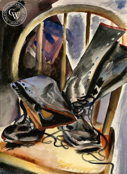 Work Boots, California art by Lee Blair. HD giclee art prints for sale at CaliforniaWatercolor.com - original California paintings, & premium giclee prints for sale