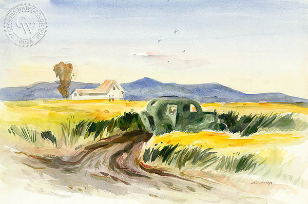 Abandoned Auto, c. 1950, by Leon Amyx. California art, original California watercolor art for sale, giclee, fine art print for sale - CaliforniaWatercolor.com