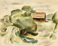 Bill Leaches Barn, 1954, by Leon Amyx. California art, original California watercolor art for sale, giclee, fine art print for sale - CaliforniaWatercolor.com