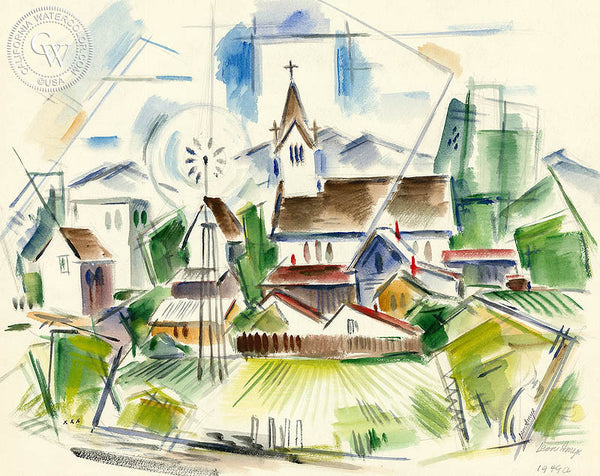 Castroville Church, 1949, by Leon Amyx. California art, original California watercolor art for sale, giclee, fine art print for sale - CaliforniaWatercolor.com