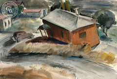 Drive Down Oakland Hills, 1937, by Leon Amyx. California art, original California watercolor art for sale, giclee, fine art print for sale - CaliforniaWatercolor.com