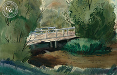 Old Wooden Bridge, c. 1930s, by Leon Amyx. California art, original California watercolor art for sale, giclee, fine art print for sale - CaliforniaWatercolor.com