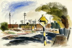 Left on Rossi Road, Salinas, 1942, by Leon Amyx. California art, original California watercolor art for sale, giclee, fine art print for sale - CaliforniaWatercolor.com