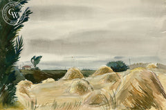 Shocked Hay in Boranda, 1940, by Leon Amyx. California art, original California watercolor art for sale, giclee, fine art print for sale - CaliforniaWatercolor.com